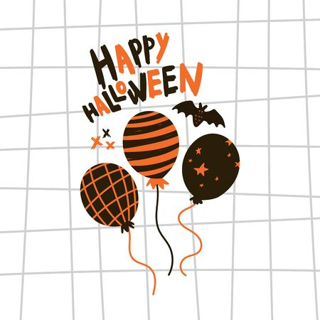 Greeting card with balloons.Halloween party invitations with handwritten calligraphy and notebook paper texture cell template.Happy Halloween text.Flat design.Vector.Poster with bets and text
