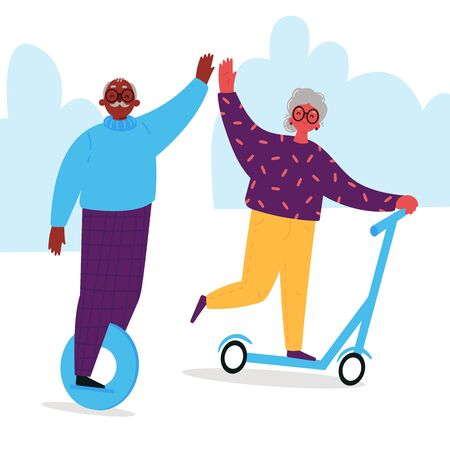 Old couple rides on a scooter and electric unicycle.Active old age.Old wife and husband spend the weekend together.Lifelong learning.Senior people learns to ride a modern transport.Vector illustration
