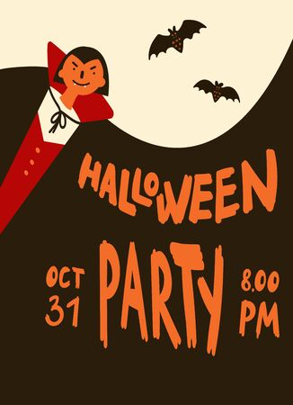 Halloween party invitations or greeting cards with handwritten calligraphy and traditional symbols.Poster with vampire in cloak and bats.Vector illustration