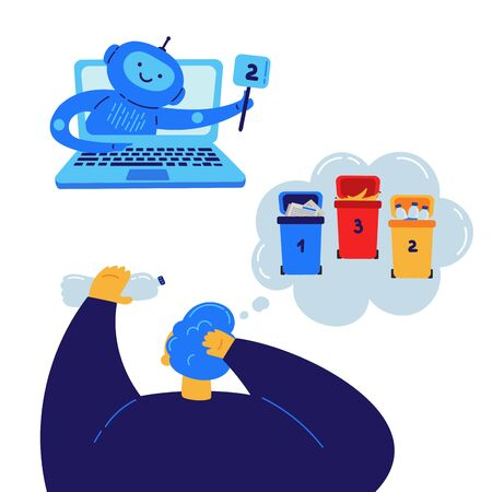 Chat bot which helps in sorting the garbage flat illustration.Assistance online.Chat bot helps man to understand which tank to throw plastic in.Tanks for separate garbage collection.Chat bot in laptop
