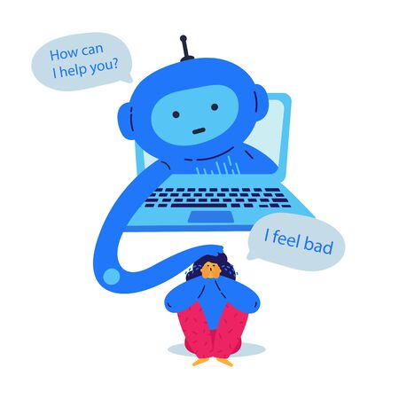 Chat bot provides psychological support to the girl flat vector illustration.Girl feeling bad and asking for help. Psychological help online.The chat bot on the laptop helps you understand the issues Ilustrace