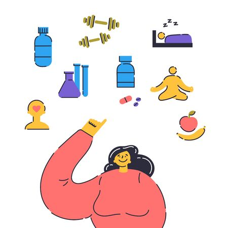 Biohacking vector illustration.Biological health engineering.Happy woman points her finger at how you can improve your body.Water,pills,sports,healthy sleep,proper nutrition,mental health,relaxation.