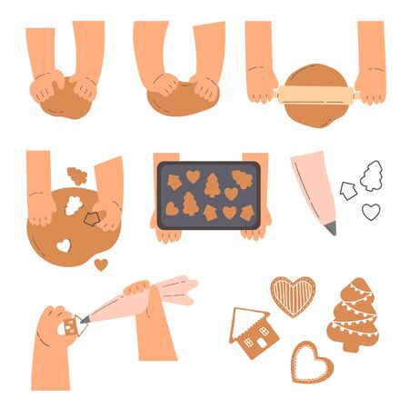 Stages of baking holiday cookies concept.Hands knead dough,line drawing isolated symbols for bakery at white background.Making gingerbread cookies.Cartoon style.Colorful flat vector illustration. Ilustração