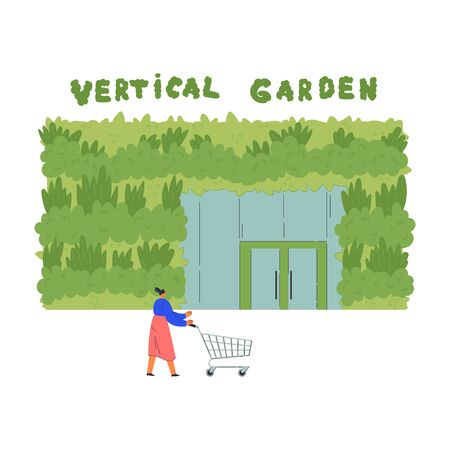 Architecture with vertical garden.Environment friendly eco design of supermarket.Woman goes shopping with shopping cart.A new way to decorate the exterior with house greenery.Vector flat illustration Ilustracja