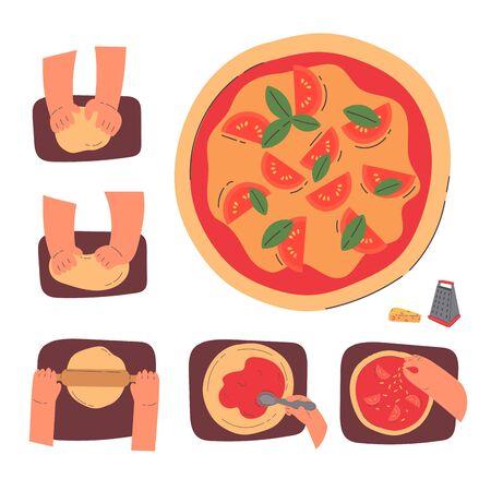 Hände kneten Teig und machen Pizza, Strichzeichnung isolierte Symbole für Bäckerei auf weißem Hintergrund. Phasen der Pizzazubereitung. Herstellung von Gebäck, Brot, Bäckerei. Cartoon-Stil Bunte flache Vektorillustration. Vektorgrafik