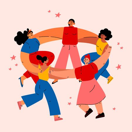 Feminism concept.Diverse international and interracial women dancing together in circle.Feminine and feminism ideas,woman empowerment.Cartoon characters.Colorful illustration on white background.