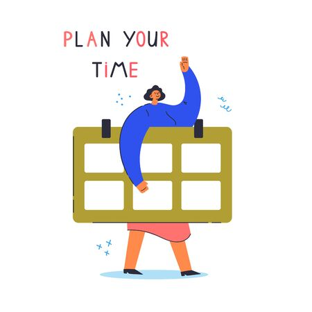 Time management concept planning.Tiny young woman hold big calendar.Cartoon character isolated on white background.Flat color vector illustration.Modern colorful poster.Plan your time lettering  イラスト・ベクター素材