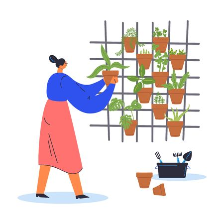 Decorative vertical garden concept.Woman gardener grows plants in pots.Environment friendly eco design.A new way to decorate the interior with house greenery.Modern hobby.Vector flat illustration