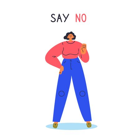 Woman expressing denial NO with her hand.Stop domestic violence and crime against females.No means no concept,stop here.Cartoon character isolated on white background.Flat color vector illustration.
