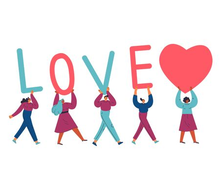 Group of different young confident women and man carry letters LOVE and giant heart.Template design for valentine day.Love text.Cartoon characters.Colorful vector illustration on wite background.