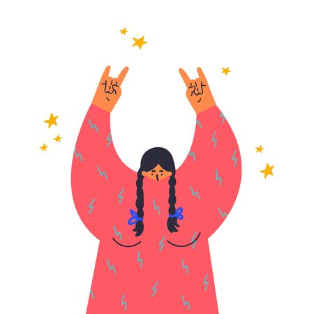Woman makes the rock gesture, goat fingers up.Fingers up, hand sign.Gesture language.Flat vector illustration.Girl at a rock concert.Template design.Colorful cartoon characters.