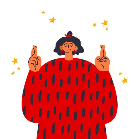 Woman crossing fingers and wishing for good luck.Fingers crossed, hand gesture.Lucky sign.Promise signal with two fingers.Gesture language.Flat vector illustration.Colorful cartoon characters.