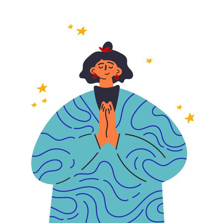 Woman clasped her hands in request.Gesture language.Woman show prayer gesture.Happy girl in dress with pattern stand in front.Flat vector illustration.Colorful cartoon characters.