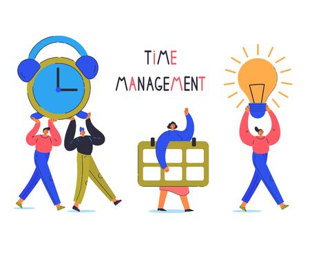 Time management concept.Tiny young man and woman carry big calendar,alarm clock,light bulb.Cartoon characters isolated on white background.Flat color vector illustration.Time management lettering