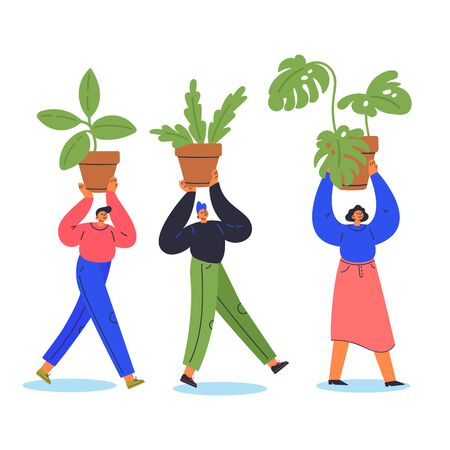 Tiny young man and woman carry plants in pots.Cartoon characters isolated on white background.Gardening concept.Flat color vector illustration.House greenery.Modern hobby.Teamwork and gardening poster  イラスト・ベクター素材