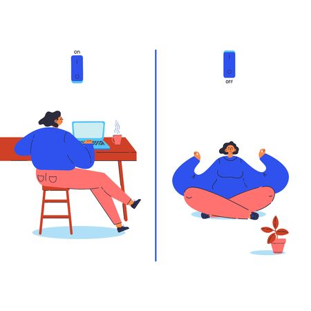 Young woman working and take a break sits in an asana to have a rest from her routine.Prevention bournout poster.Status on and off.Cartoon character isolated on white background.Flat illustration.  イラスト・ベクター素材
