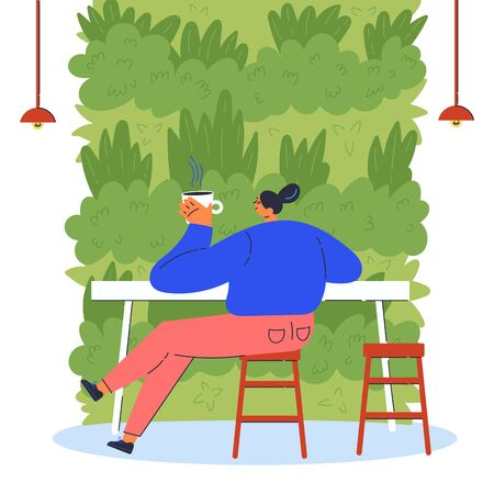 Vertical garden.Young woman in cafe drinking coffee near green wall.Environment friendly eco design of wall.A new way to decorate the interior with house greenery.Vector flat illustration  イラスト・ベクター素材