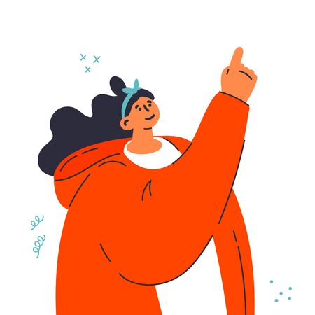 Young trendy woman points her finger at something.Hand gesture.Gesture language.The girl in hoodie is paying your attention.Template design.Flat vector illustration.Colorful cartoon characters.