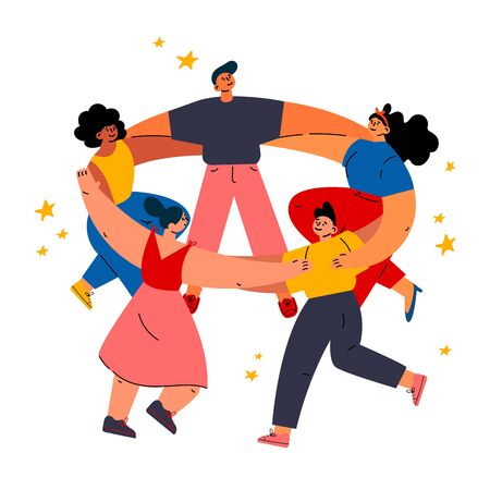 Feminism concept.Diverse international and interracial women and man dancing together.Feminine and feminism ideas,woman empowerment.Cartoon characters.Colorful vector illustration on wite background.  イラスト・ベクター素材