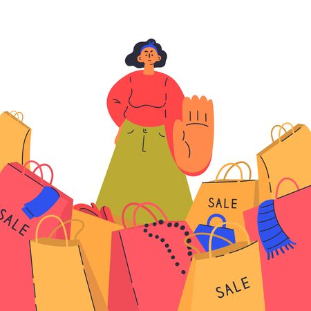 Reasonable consumption concept.Woman say no to shopaholics.Young woman against sales, minimalistic approach to life.Fast fashion.Cartoon character.Colorful vector illustration on wite background.