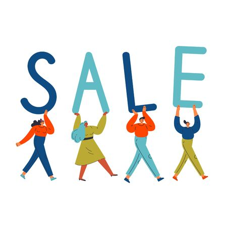 Group of different young confident women and man carry letters SALE.Template design for sale concept with lettering.Sale text.Cartoon characters.Colorful vector flat illustration on wite background.