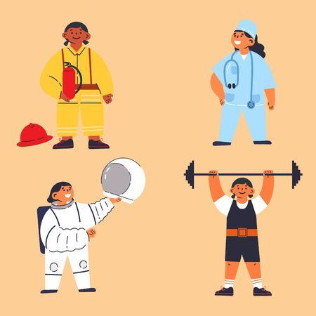 Feminism concept.little girls in costume of fireman,astronaut,doctor,weightlifter.Motivation poster.Feminine and feminism ideas,woman empowerment.Cartoon characters.Colorful vector illustration.  イラスト・ベクター素材