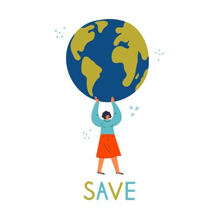 Young confident woman holding the Earth globe.Eco and environment friendly ecological concept.Save text.Happy Earth day poster.Cartoon character.Colorful vector illustration on wite background.  イラスト・ベクター素材