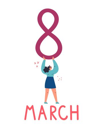 Happy young confident woman with an eight letter.Happy international womans day.Feminism concept.Women March.Flat cartoon character isolated on white background.Colorful vector illustration.  イラスト・ベクター素材