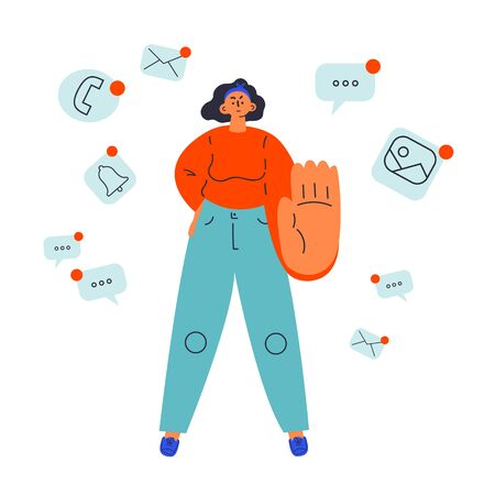 Reasonable consumption concept.Woman say no to social networks.Bad habits, time management.Addiction.Minimalistic approach to life..Cartoon character.Colorful vector illustration on wite background.