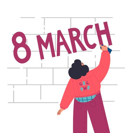 Happy confident woman draws graffiti on the brick wall.8 march lettering.International women day.look from the back.Flat cartoon characters on white background.Colorful vector illustration
