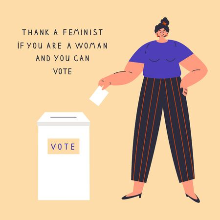 Confident happy woman is voting.Vote box.Women have rights.Thank a feminist poster with lettering.Feminism concept.Flat cartoon character isolated on white background.Colorful vector illustration.  イラスト・ベクター素材