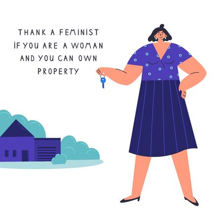 Happy young confident woman with key from her own house.Woman buys real estate.Thank a feminist.Feminism concept.Flat cartoon character isolated on white background.Colorful vector illustration.
