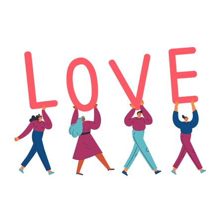 Group of different young confident women and man carry letters LOVE.Template design for valentine day with lettering.Love text.Cartoon characters.Colorful vector illustration on wite background.