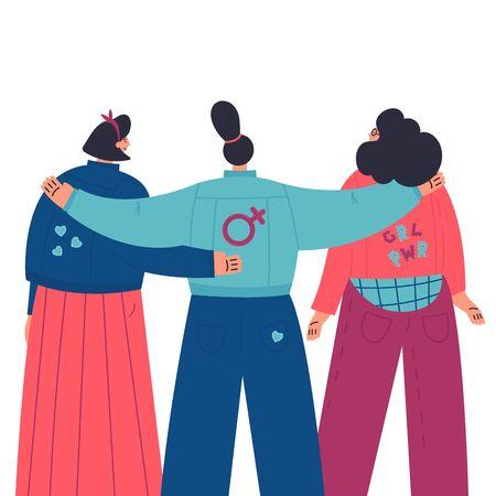 Donne felici in piedi insieme e si abbracciano. Gruppo di amiche, unione di femministe, sorellanza. Guarda dal retro. Personaggi dei cartoni animati piatti su sfondo bianco. Illustrazione vettoriale colorato Vettoriali
