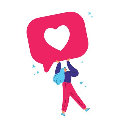 Tiny young confident woman carry giant heart button.Like buttons image design.Cartoon characters.Colorful flat vector illustration on wite background.
