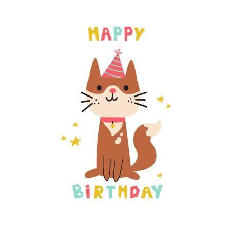 Pet birthday party.Cat in festive cap.Happy Birthday lettering.Lovely kitty.Hand drawn pet.Greeting card.Invitation.Vector flat cartoon illustration isolated on white background.