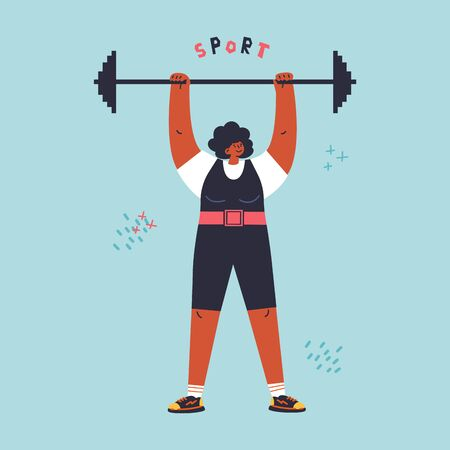 Happy young confiden woman with barbell.Profesional sportsman.Girl power.Feminism concept.Sport lettering.Flat cartoon character isolated on white background.Colorful vector illustration.  イラスト・ベクター素材