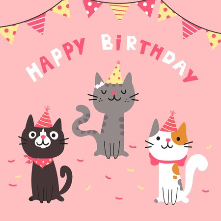 Set of different cartoon cats.Happy Birthday lettering.Lovely kittens sitting together.Hand drawn pets in festive caps.Greeting card.Vector flat cartoon illustration isolated on pink background.  イラスト・ベクター素材