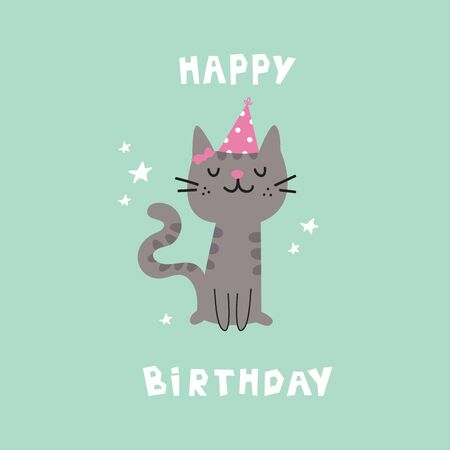 Pet birthday party.Cat in festive cap.Happy Birthday lettering.Lovely kitty.Hand drawn pet.Greeting card.Invitation.Vector flat cartoon illustration isolated on blu background.