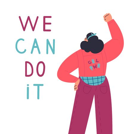 Happy confident woman stands with her fist up in protest.We can do it lettering.International women day.look from the back.Flat cartoon characters on white background.Colorful vector illustration  イラスト・ベクター素材