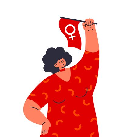 Woman raises her hand with flag with symbol of Venus.Fight like a girl,hand sign.Feminism concept.Woman empowerment.Flat vector illustration.Template design.Colorful cartoon characters.