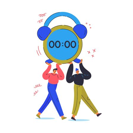 Time management concept.Tiny young men goes and carry big alarm clock.Plan your day.Cartoon characters isolated on white background.Flat color vector illustration.Team work.Reminder app