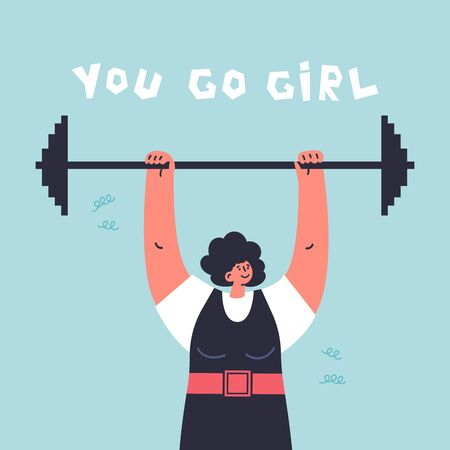 Happy young confiden woman with barbell.Profesional sportsman.Girl power.Feminism concept.You go girl lettering.Flat cartoon character isolated on white background.Colorful vector illustration.  イラスト・ベクター素材