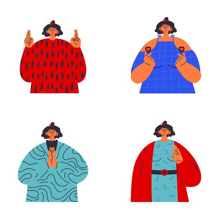 Confident girl flat vector illustrations set.Woman shows different hand gestures.Ok,love,pray,lucky sign.Gesture language.Template design.Flat vector illustration.Colorful cartoon characters.