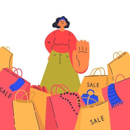Angemessenes Konsumkonzept. Frauen sagen Nein zu Shopaholics. Junge Frau gegen Verkäufe, minimalistische Lebenseinstellung. Schnelle Mode. Zeichentrickfigur. Bunte Vektorillustration auf weißem Hintergrund.
