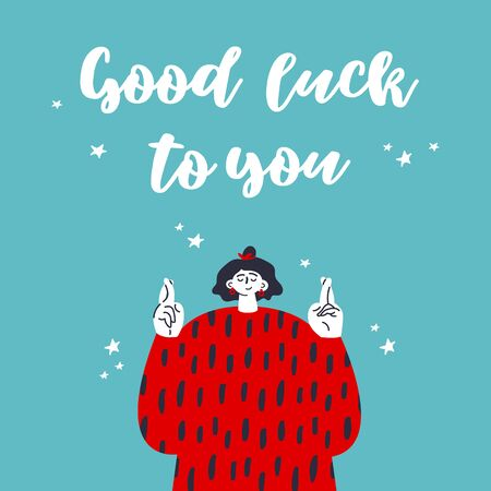 Woman crossing fingers and wishing for good luck.Fingers crossed, hand gesture.Lucky sign.Gesture language.Good luck to you text.Flat vector illustration with lettering.Colorful cartoon characters.