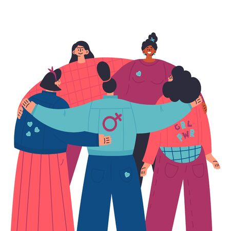 Happy women standing together and hug each other.Group of female friends,union of feminists,sisterhood.look from the back.Flat cartoon characters on white background.Colorful vector illustration