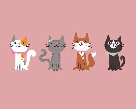 Set of different cartoon cats.Four lovely kittens sitting together.Hand drawn pets.Vector flat cartoon illustration isolated on pink background.Template design.