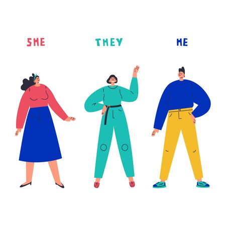 Three young people standing together.Inscription she,he,they.Gender-neutral movement.Teenager without gender stereotypes.Flat cartoon character on white background.Colorful vector illustration