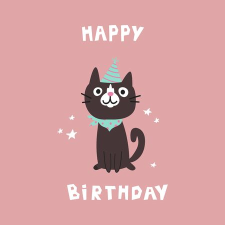 Pet birthday party.Cat in festive cap.Happy Birthday lettering.Lovely kitty.Hand drawn pet.Greeting card.Invitation.Vector flat cartoon illustration isolated on pink background.